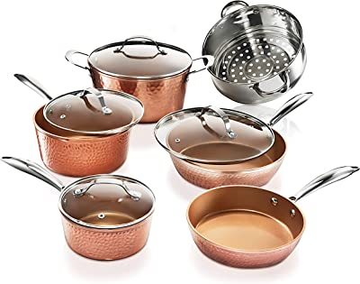 Gotham Steel Hammered Collection – 10 Piece Premium Cookware, Pots and Pan Set with Triple