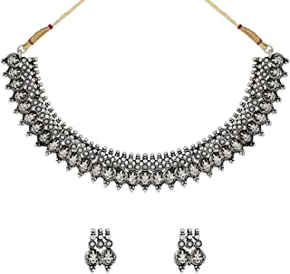 Zaveri Pearls Silver Antique Choker Necklace for Women (Silver) (ZPFK6299)