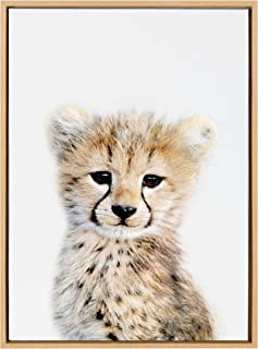 Kate and Laurel Sylvie Baby Cheetah Animal Print Portrait Framed Canvas Wall Art by Amy Peterson, 23x33 Natural