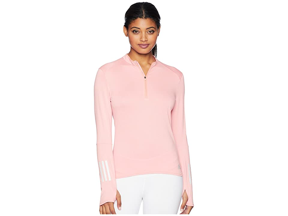 adidas Response 1/2 Zip Long Sleeve Tee (Chalk Coral/Colored Heather) Women