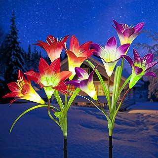 GIGALUMI Solar Lights Outdoor, 2 Pack Solar Flower Lights, 8 Solar Lily Flower, Multi-Color Changing LED Solar Landscape L...