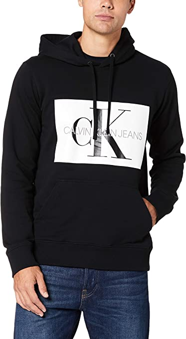 Calvin Klein Jeans Men's Monogram Box Logo Regular Fit Hoodie