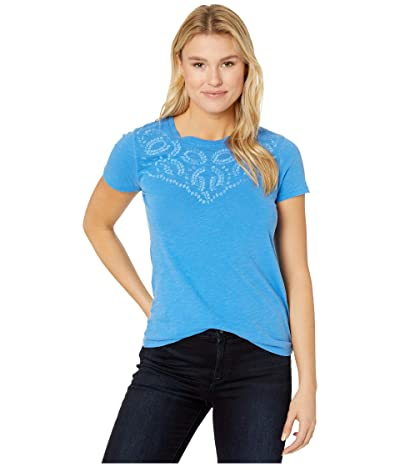 Lucky Brand Embroidered Yoke Neck Tee (Princess Blue) Women