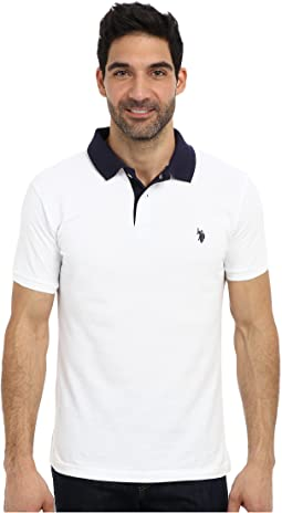 Slim Fit Solid Pique Polo w/ Contrast Color Striped Under Collar