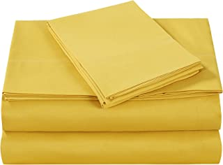 Style Homes 3-Piece Luxury Bed Sheet Set - Ultra Soft Microfiber, Solid Color, Wrinkle & Shrink Resistant, Hypoallergenic - Twin XL, Spicy Mustard