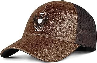 QILI Two Headed Masonic Eagle Women's Ponytail Messy High Buns Trucker Ponycaps Adjustable Glitter Casual Sun Hats