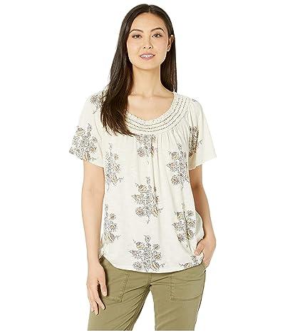 Lucky Brand Crochet Short Sleeve Top (Natural Multi) Women