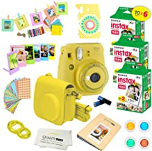 Fujifilm Instax Mini 9 Instant Camera w/Fujifilm Instax Mini 9 Instant Films (60 Pack) + A14 Pc Deluxe Bundle for Fujifilm Instax Mini 9 Camera (Yellow)