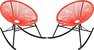 PatioPost Outdoor Acapulco Chairs Set of 2 Patio Rocking Chair with Woven Rope£¬Red