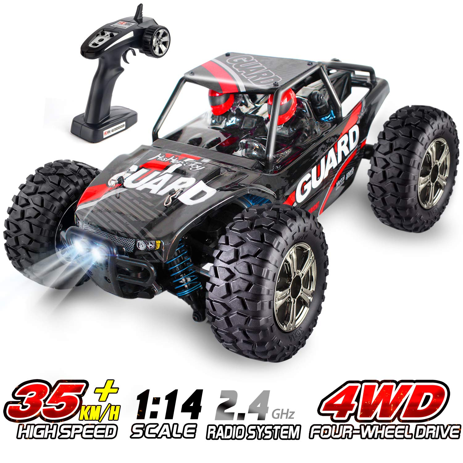 Rc Car For Adults And Kids Hishertoy Remote Control Truck 1 14 Scale 4wd 2 4 Ghz 35km H High Speed All Terrain Rc Car With 2 Headlights Rechargeable Remote Control Car For Boys Girls