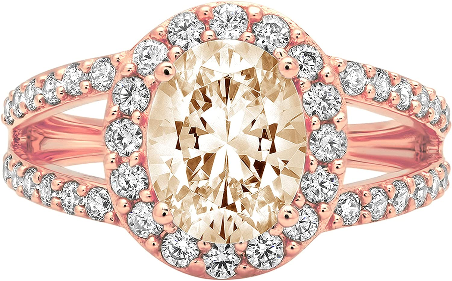 2.24 ct Oval Cut Solitaire with Opening large release sale Accent shank Designer Halo Super beauty product restock quality top split