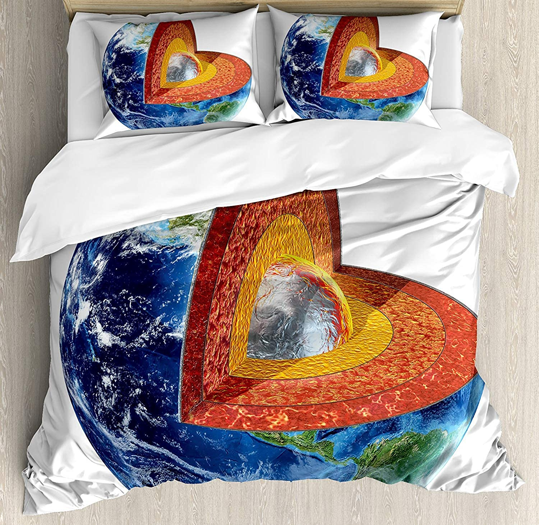 hermoso El conjunto de fundas fundas fundas nórdicas de Earth Cover, imagen de la Tierra, que representa el globo terráqueo interno del planeta en materia de geología y ciencia, tiene una serie de camas decorativas  hasta un 65% de descuento