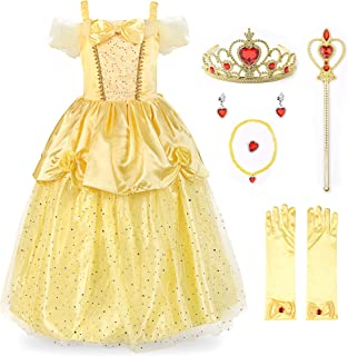 Girls Princess Costume Sequin Overlay Party Dress