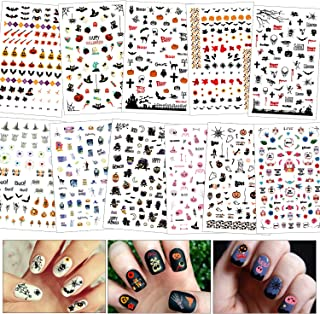 Konsait 900+pcs Halloween Nail Stickers, Self-Adhesive 3D Halloween Nail Art Stickers Mixed Styles Nail Decals for Woman Girls Kids Halloween Party Favors Decorations Nail Applique DIY Supplies