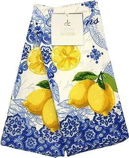 Deborah Connolly Designs Italian Inspired Blue and Yellow Lemon Kitchen Towel Set