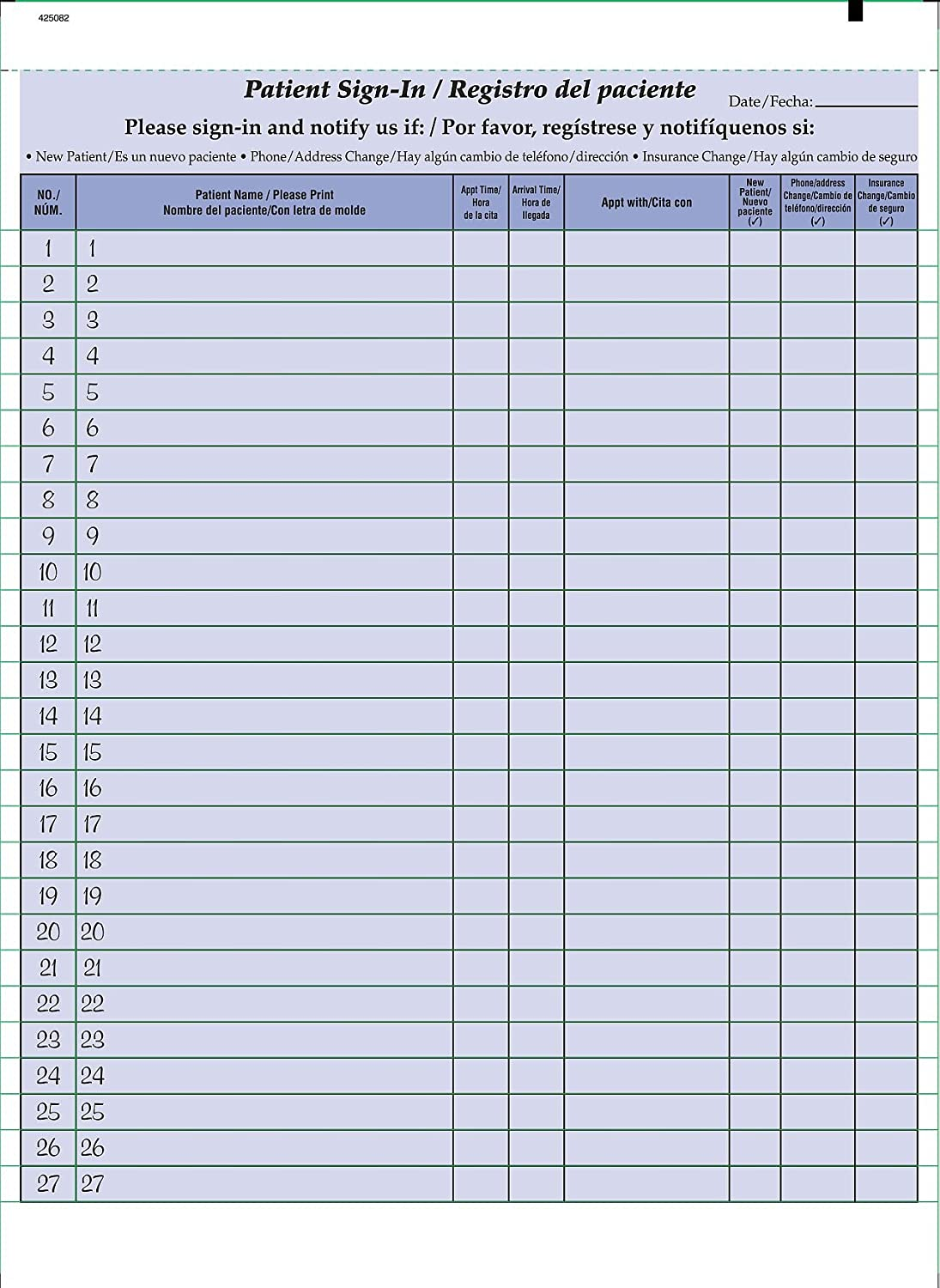 Bilingual Patient Sign-in Sheets Alternative Limited price dealer