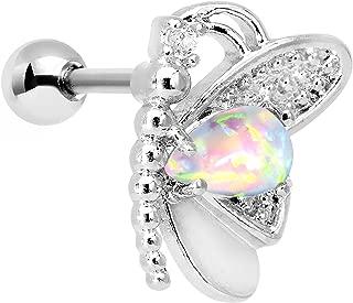 Steel White Synthetic Opal Butterfly Right Cartilage Earring 16 Gauge 1/4