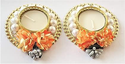 PRAHLL Designer Tea Light/Candle Holder Artificial Flower Decoration Diya (Set of 2, 3-inch Each, Orange)