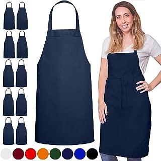 GREEN LIFESTYLE 12 Pack Bib Apron - Unisex Black Apron Bulk Machine Washable for Kitchen Crafting BBQ Drawing Outdoors (Navy Blue)