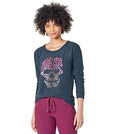 Chaser Flocked Leopard Skull Bliss Knit Sweatshirt Women