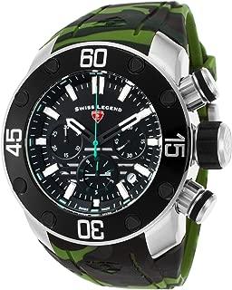 Swiss Legend Men's SL10617SM01GRNS Lionpulse Chronograph Black Silicone Watch