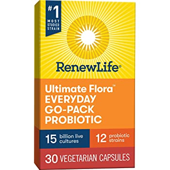 Renew Life Ultimate Flora Adult Everyday Go-Pack Probiotic, 15 Billion, 30 Count; (Pack May Vary) (Package May Vary)