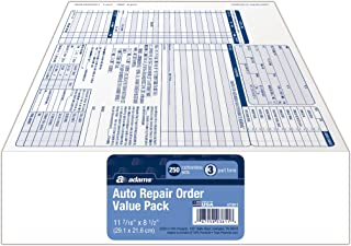 Adams Garage Repair Order Forms, 8.5 x 11 Inch, 3 Parts, 250-Count, White and Canary and White Tag (GT3811) - coolthings.us