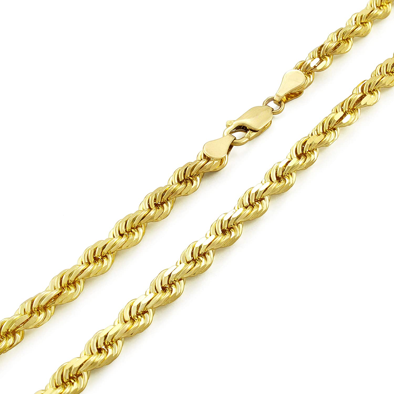 Max 59% OFF Nuragold 10k Yellow Gold 5mm Rope Pendant Neck Cut Diamond Chain Inexpensive