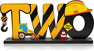 Haooryx Construction Truck Two Letter Sign Wooden Table Centerpiece for Boys, Two Years Old Baby 2nd Birthday Party Decorations, Construction Theme Party Supplies Baby Shower Decor Photo Props