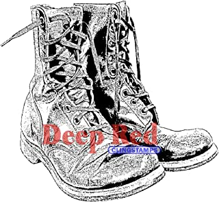 Deep Red Stamps: Combat Boots Rubber Stamp