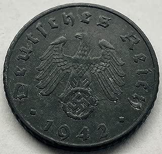 1939 DE - 1944 Nazi Germany 5 Pfennig Zinc Third Reich Coin 5 Reichspfennig F-XF