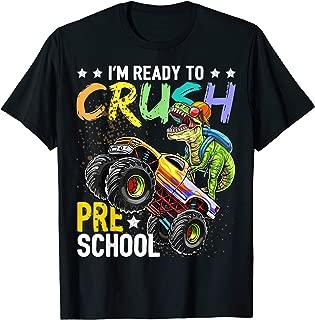 Preschool Dinosaur Monster Truck Back to School Shirt Boys