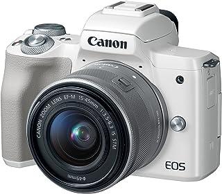 Canon 2681C011 Canon EOS M50 EF-M 15-45mm F3.5-6.3 IS STM lens, 24.1 MP, 4K, Mirrorless Digital Camera, White Variable, Me...