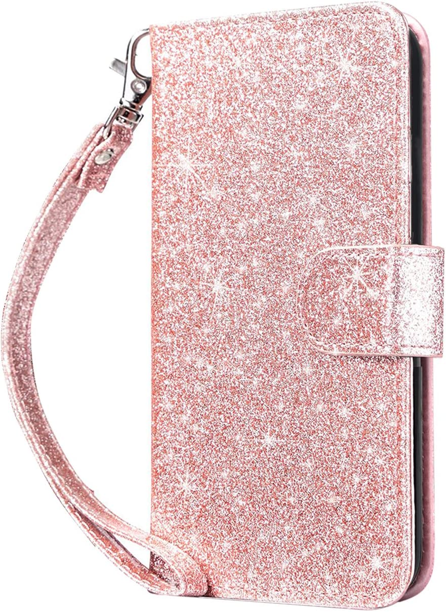 Dailylux Case for iPod Touch 5 / 6 / 7th Generation, [Built-in Card Slots] PU Leather Folio Stand Cover Flip Wallet Case Magnetic Clasp for Apple iPod Touch 5, iPod Touch 6, iPod Touch 7, Glitter Pink