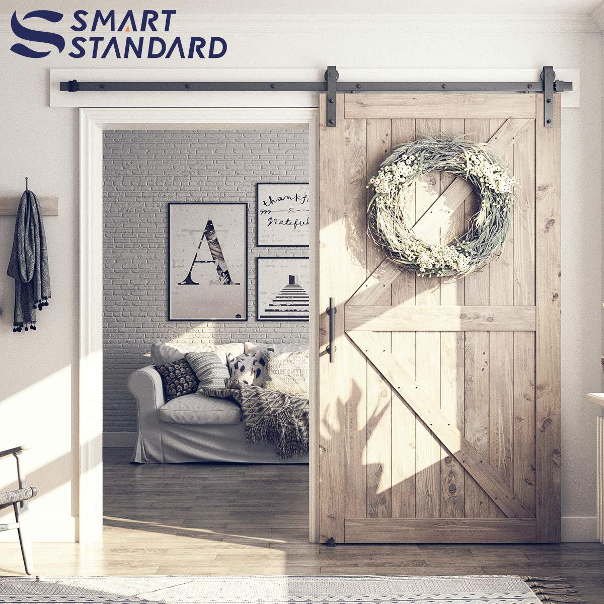 Kit de herramientas para puerta corredera de 2,4 m, barra única de 2,4 m, color negro, incluye un asa de puerta, una guía de suelo y un bloqueo de puerta, para panel