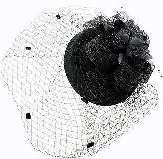 JETEHO Black Fascinator Hair Clip Pillbox Hat Bowler Feather Flower Veil Wedding Party Hat Tea Hat