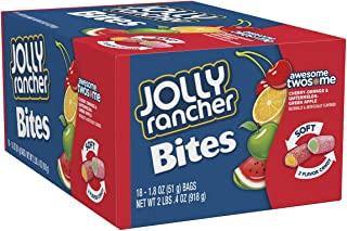 JOLLY RANCHER Chewy Candy Bites, Cherry, Orange, Watermelon, Green Apple (Pack of 18)