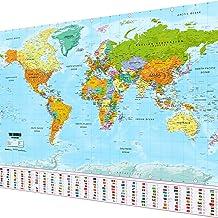 Goods & Gadgets Weltkarte XXL Poster im Riesenformat mit Fahnen & Flaggen - Top Qualität (140x100cm)
