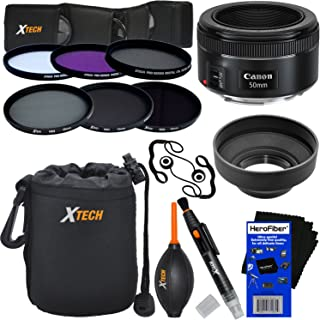 Canon EF 50mm f/1.8 STM Lens for Canon SLR Cameras (International Version) + ND Filters ND2 ND4 ND8 + 11pc Deluxe Accessory Kit w/ HeroFiber Ultra Gentle Cleaning Cloth