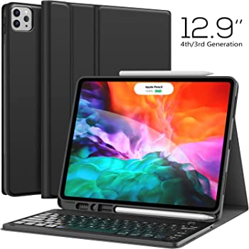 Keyboard Case for iPad Pro 12.9 2020 4th Generation, iPad Pro 12.9 Case with Keyboard 3rd Generation 2018 - Wireless Detachable - with Pencil Holder - Stand Cover - iPad Pro 12.9 inch Keyboard