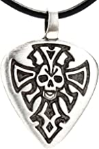 Trilogy Jewelry Pewter Guitar Pick with Skull and Dagger Pendant on Leather Necklace