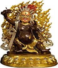 Pure Brass Vajrapani Bodhisattva Buddha Statues Chinese Feng Shui Decoration Hand-Painted Small Statues of The Mountain Go...