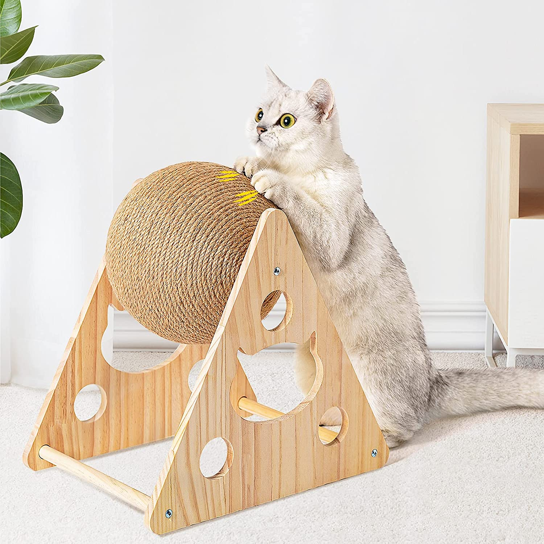 PETTOM Rascador de Gato, Juguetes de Bolas de sisal para Gatos, Juguete Interactivo de Gato Sisal Duradero Natural
