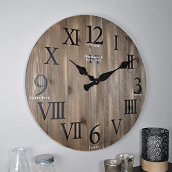 "FirsTime & Co. Rustic Barnwood Wall Clock, 24"", Weathered Barn Wood"