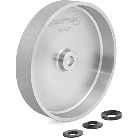 """Savannah 180 Grit 8"""" x 1½"""" Steel CBN Grinding Wheel with a 5/8"""" Bore and a 3 Piece Spherical Washer Set"""