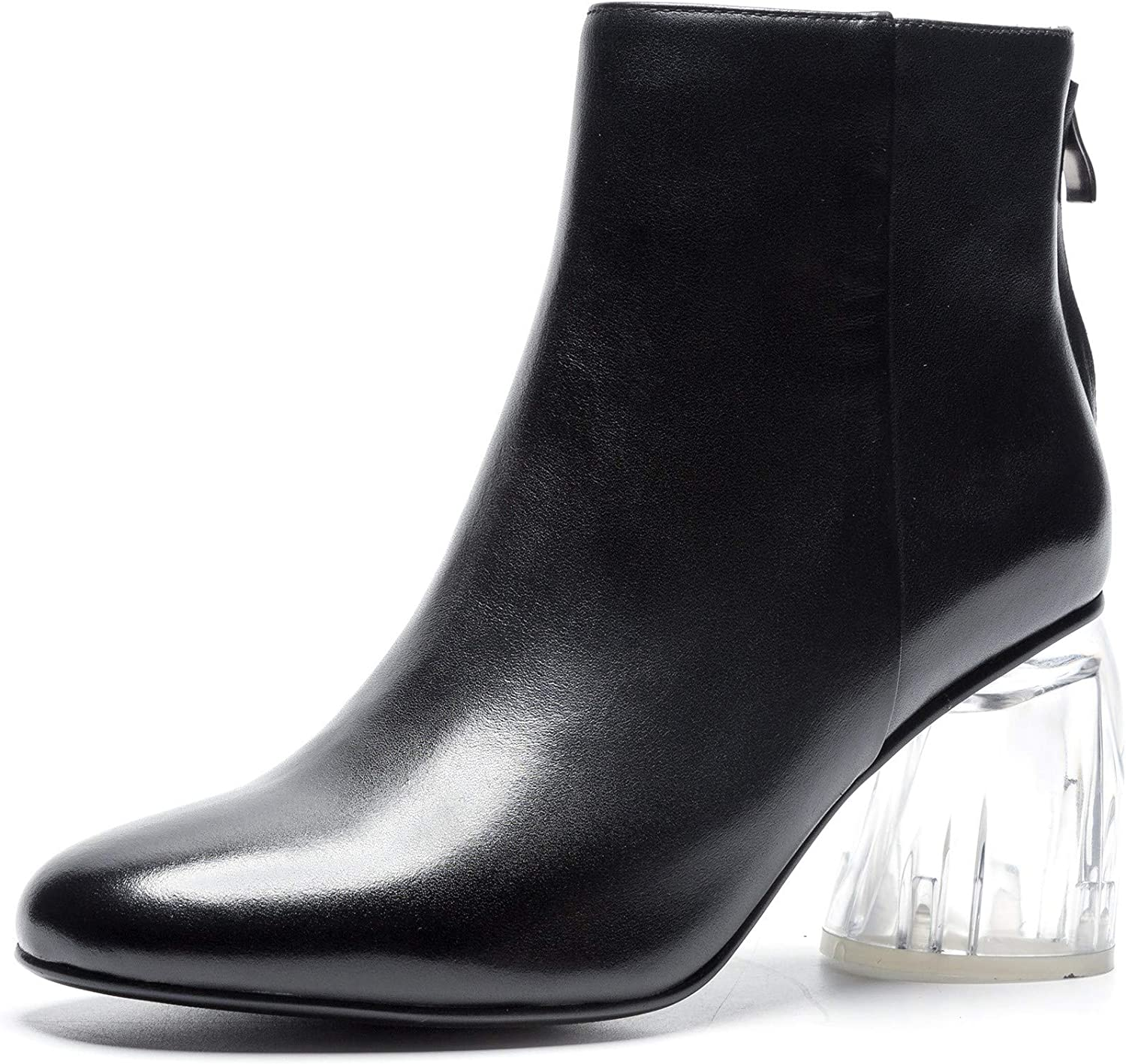 Nine Seven Women's Genuine Leather Round Toe Clear Mid Heel Handmade Casual Back Zipper Work Ankle Boots