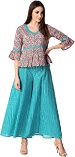 Khushal K Women's Cotton Top With Palazzo Set