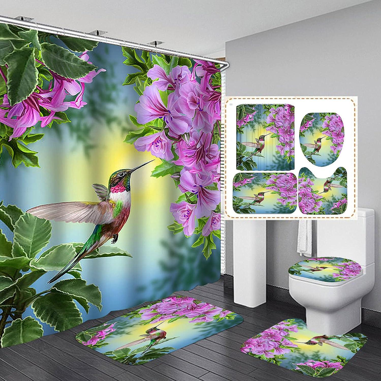 OLEBETY 4PCS Set Hummingbird Purple Bargain Shower Sprin Curtain Recommendation Floral