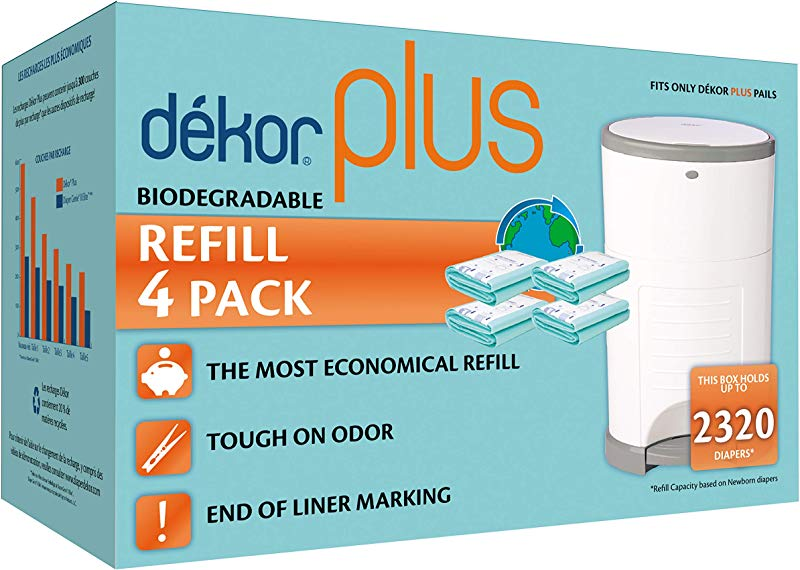 Dekor Plus Diaper Pail Biodegradable Refills 4 Count Most Economical Refill System Quick And Simple To Replace No Preset Bag Size Use Only What You Need Exclusive End Of Liner Marking