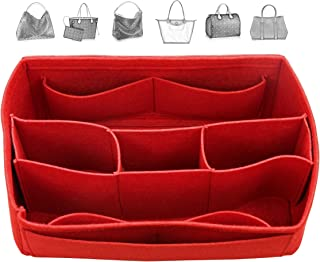 Organizador de fieltro (con compartimentos centrales desmontables), bolsa en bolsa, inserción de monedero de lana, organiz...